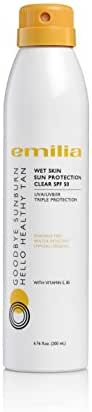 Facial Sunscreen SPF 50 - Wet Skin Sun Protection for Face and Body Goes on Clear - Emilia