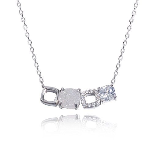 925 Sterling Silver Square Agate Druzy Necklace Princess Cut Pendant Necklace Crystal Jewelry for Women Mother's Day Gift