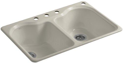 Kohler K-5818-4-G9 Hartland Self-Rimming Kitchen Sink with Four-Hole Faucet Drilling, Sandbar (Sink Kitchen Sandbar G9)