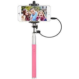 Vivitar Smartphone Selfie Stick with Built-In Shutter Release in Pink