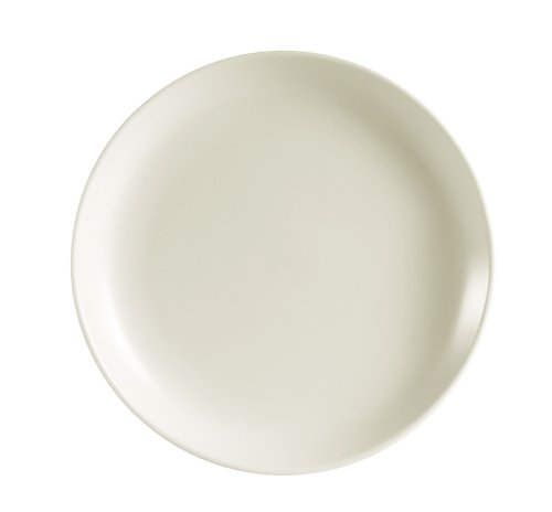CAC China REC-8C Rolled Edge 9-Inch Stoneware Coupe Round Plate, American White, Box of ()