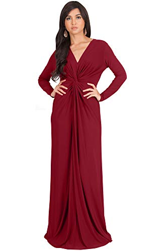 V-neck Waist Jersey Empire (KOH KOH Womens Plus Size Womens Long Sleeve Sleeves V-Neck Flowy Cocktail Formal Fall Winter Evening Abaya Muslim Gown Gowns Maxi Dress Dresses, Crimson Dark Red L 12-14)