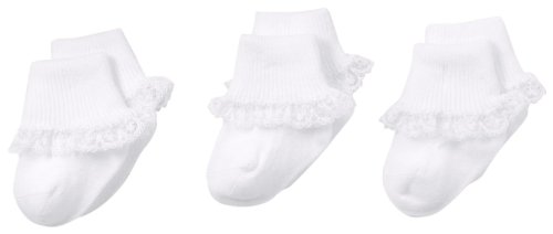 (Jefferies Socks Baby-Girls Newborn Simplicity Lace Socks 3 Pair Pack, White, Newborn)