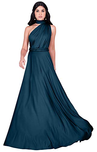 KOH KOH Womens Long Bridesmaid Multi-Way Wedding Convertible Wrap Infinity Cocktail Sexy Summer Party Formal Prom Transformer Gown Gowns Maxi Dress Dresses, Dark Blue Teal L 12-14