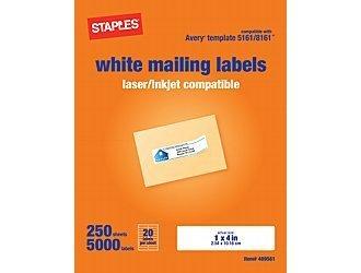 staples white inkjet laser address labels 1 x 4 5 000 box