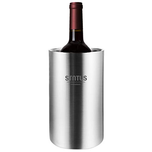 Wine Chiller Bucket, STNTUS Stainless Steel Double Wall White Wine Bottle Cooler Bucket, Insulated Champagne Beer Ice Bucket ()