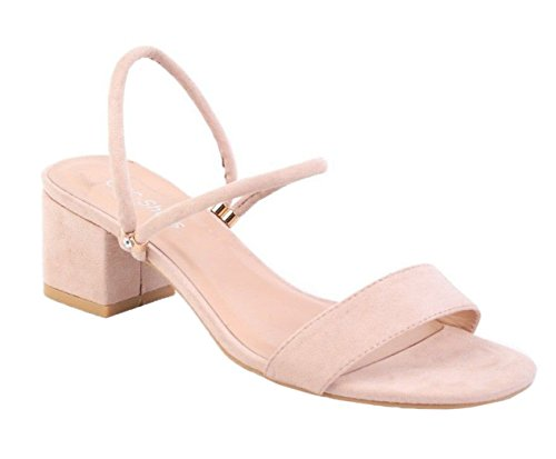 SHU CRAZY Womens Ladies Faux Suede Low Block Heel Slip On Open Toe Dressy Sandals Shoes - P18 Beige Vo0R7N