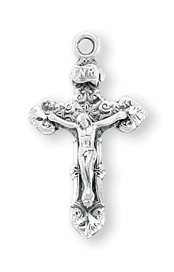 Elaborately Detailed 7/8 Inch Sterling Silver Cross Crucifix Pendant Detailed Sterling Silver Cross