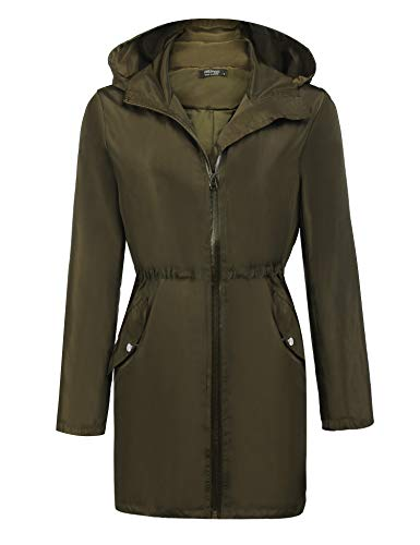ELESOL Womens Lightweight Travel Trench Waterproof Raincoat Hoodie Windproof Hiking ()
