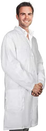Professional Men Lab Coat Cotton 41 Inch Long (White) Adult Doctor Costume Medical Chemistry Scientist Button laboratory Male Jacket Lightweight Labcoat Poly Cotton Material Doctors Coats