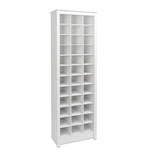 Prepac WUSR-0009-1 Shoe Storage Cabinet, 36 Pair Rack, White (Furniture Closet Organizer)