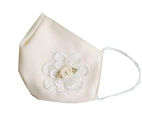 Accesorio comunión niña blanca satén flor color marfil y encaje
