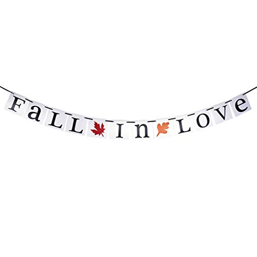 Fall in Love Fall Letter Banner with Leaves Assembled