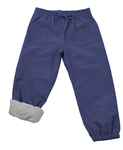 JAN & JUL Kids Water-Proof Fleece-Lined Rain Pants (Fleece-Lined: Navy, 3T)