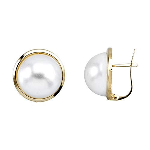Boucled'oreille Or 18k perle ronde synthétique [AA6604]