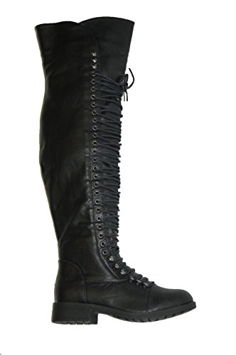 Herstyle Kristrrina Women Military Lace up Thigh High Combat Bootss Black 6.5