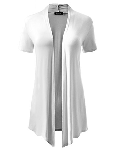 (BH B.I.L.Y USA Women's Short-Sleeve Open Front Drape Cardigan with Side Pockets White Large)