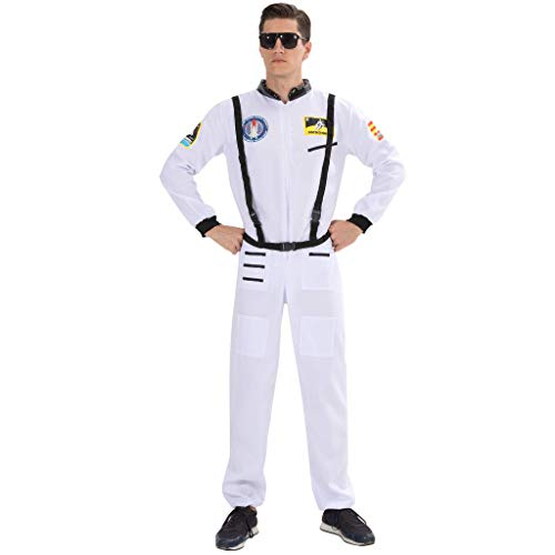 Space Suit Halloween Costume (EraSpooky Men's Astronaut Costume Spaceman Suit Halloween Adult Costumes for Men - Funny Cosplay)