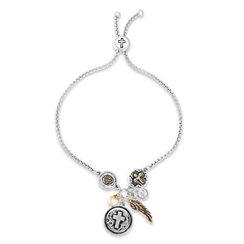(WILLOWBIRD Crystal Cross Feather Heart Charm Slider Adjustable Bracelet for Women in Two-Tone Plated Brass)