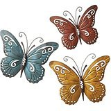 Trio Art Butterfly (3D Set of 3 Rustic Butterfly Trio Plaque Wall Sculpture Hanging Art Decor)