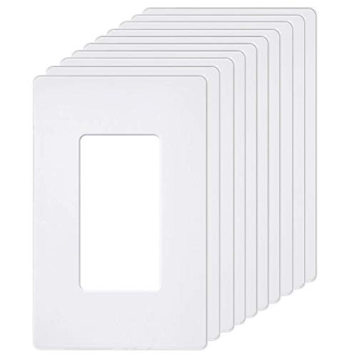 [10 Pack] BESTTEN Screwless Wall Plates, USWP6 Series, 1-Gang Outlet Covers for GFCI, Decorator Receptacle, Dimmer and Light Switch, Residential and Commercial Grade, UL Listed, White