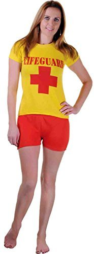 Women Lifeguard T-Shirt and Short Set Beach Bay Life Saver Costume (Women: 14) by FNA (Life Saver Costume)