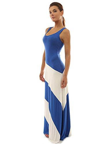 PattyBoutik Women Racerback Striped Maxi Dress (Blue and Ivory White Large)