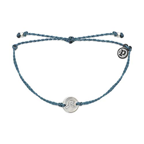 Pura Vida Silver Wave Coin Bracelet - Plated Charm, Adjustable Band - 100% Waterproof - Dusty Blue from Pura Vida