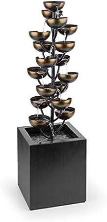 Fontana con Gioco dAcqua blumfeldt Joshua Tree Fontana Decorativa Pompa 7 W Effetto Ottone da Interni ed Esterni 17 Vasche Collegate Contenitore Acqua da 15 L Struttura in Metallo
