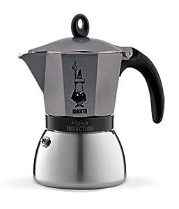 Bialetti – 4823/X4 – Moka Induction – Cafetière Italienne en Aluminium – 6 Tasses – Gris Antracite