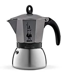 Bialetti Moka Induction, cafetera con Base de Acero para inducción, Color Gris, 6 Tazas