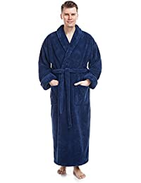 Mens Shawl Collar Full Length Tall Long Fleece Robe, Turkish Bathrobe