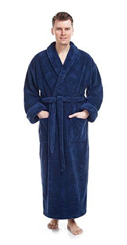 Arus Men's Shawl Collar Full Length Long Fleece Robe, Turkish Bathrobe, Navy Blue, SM