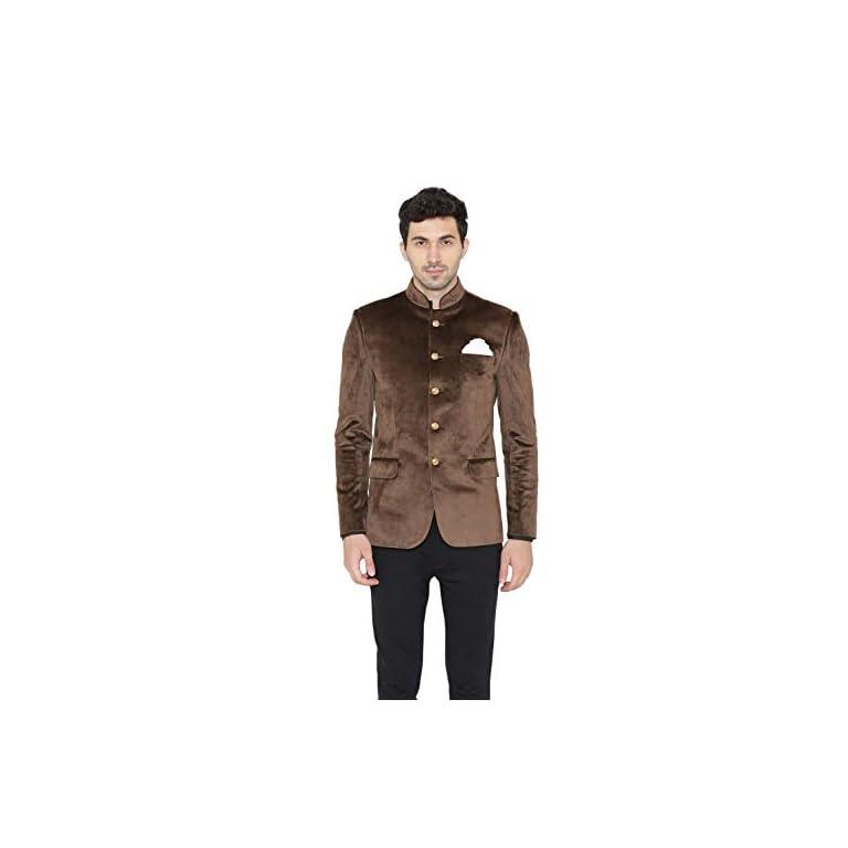 31WPNMzVYVL. SS768  - WINTAGE Men's Velvet Grandad Nehru Blazer Coat Jacket