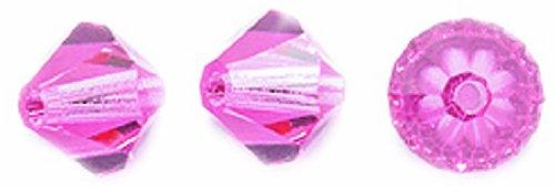 Preciosa 72-Piece Czech Crystal Bicone Beads Set, 6 by 6mm, Rose ()