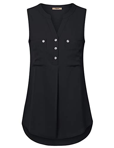 Timeson Button Down Blouse for Women, Sleeveless Shirts for Women Plus Size Work Tops Office Black Button Tunic Shirts V Neck Pocket Pretty Fashion Tank Tops for Work for Skirt Black Medium