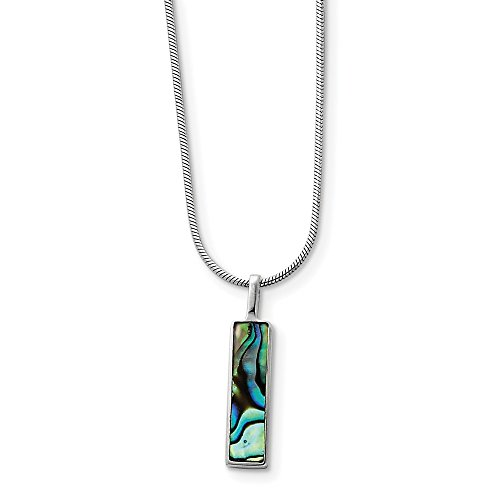 Sterling Silver Rhodium Plated 16in Abalone Pendant Necklace