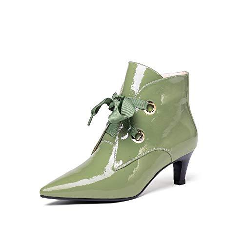 f975569da542 Nine Seven Patent Leather Women s Pointed Toe Chunky Low Heel Side Zip  Handmade Graceful Walking Dress