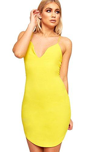 Wearall Femmes Plaine Sans Manches Moulantes Plongeon V-cou Extensible Mini Robe Moulante Jaune
