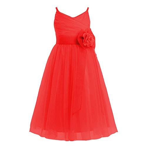 Tulle Flower Gilrs Dresses Little Girl Toddler Gowns Flower Bowknot Sashes Wedding Party Dress US 4 Red