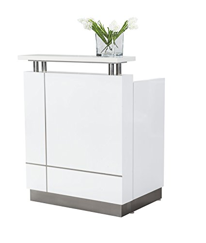 Small Modern reception Gloss White With Quartz top(Desk fully installed in box)