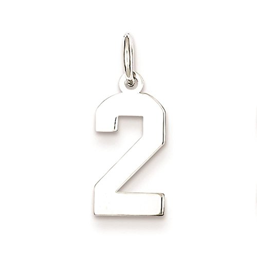 925 Sterling Silver Small Polished Number '2' Charm Pendant