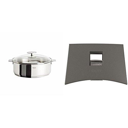 Cristel Casteline S26QMPKP Saute Pan, 5 quart, Silver with Cristel Mutine Plmag Side Handle, Grey