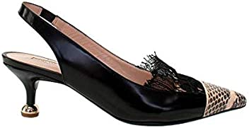 1e893923a10550 DRIES VAN NOTEN Black Leather Slingback W Snake Print Toe