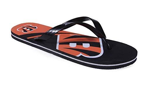 CBEBLG2-2 - Cincinnati Bengals- Medium - Officially Licensed NFL Big Logo Flip Flops - Happy Feet and Comfy Feet