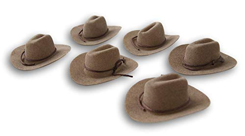Craft Decor Set of Six (6) Miniature Felt Cowboy Hats for Crafts, Decorating & More