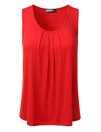 DRESSIS Women's Basic Soft Pleated Scoop Neck Sleeveless Loose Fit Tank Top RED 2XL - Red Sleeveless Shirt