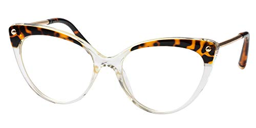 SOOLALA Ladies Oversized Cat Eye Reading Glass Modern Eyeglass Frame, Transparent, 3.5