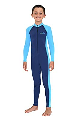 Boys Full Body Swimsuit Stinger Suit Long Sleeves UV Protection UPF50+ Navy Blue