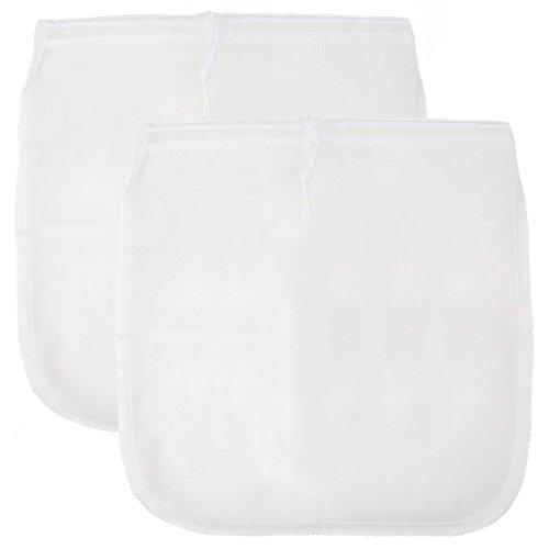 STARUBY Nut Milk Bag 2 Pack 12'' x 12'' Reusable Almond Milk Bags Premium Fine Mesh Nylon Food Strainer Coffee,Tea & Milk Filter Bag -